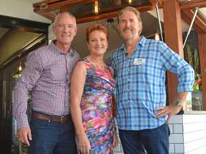 ON THE MARCH: Pauline Hanson's One Nation Party on the Coast. L-R: Buderim MP and state leader Steve Dickson, party leader Senator Pauline Hanson and Nicklin candidate Steven Ford.