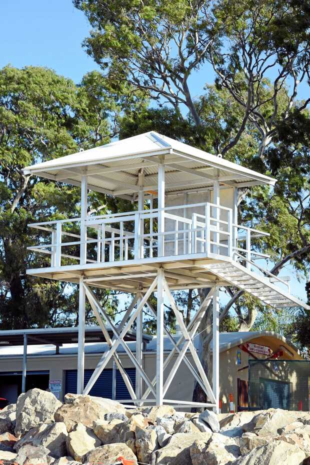 The new lifeguard tower ready for the 2017 Queensland Youth Surf Lifesaving Championships.