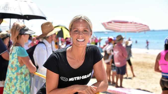 BACK TO HER ROOTS: Ironwoman Courtney Hancock at the Surf Life Saving Queensland Youth Championships in Hervey Bay.