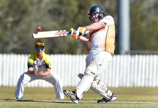 """A\"" Grade cricket - Cavaliers (fielding) V. Bushrangers (batting). Josh Lenton slams this delivery to the boundary."