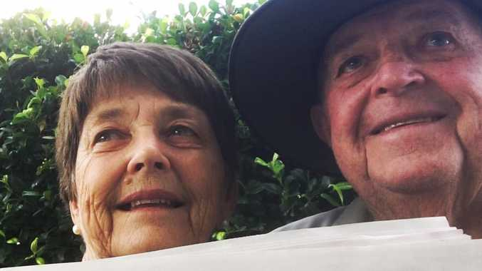 Tom Busby's parents pose for their first ever selfie.