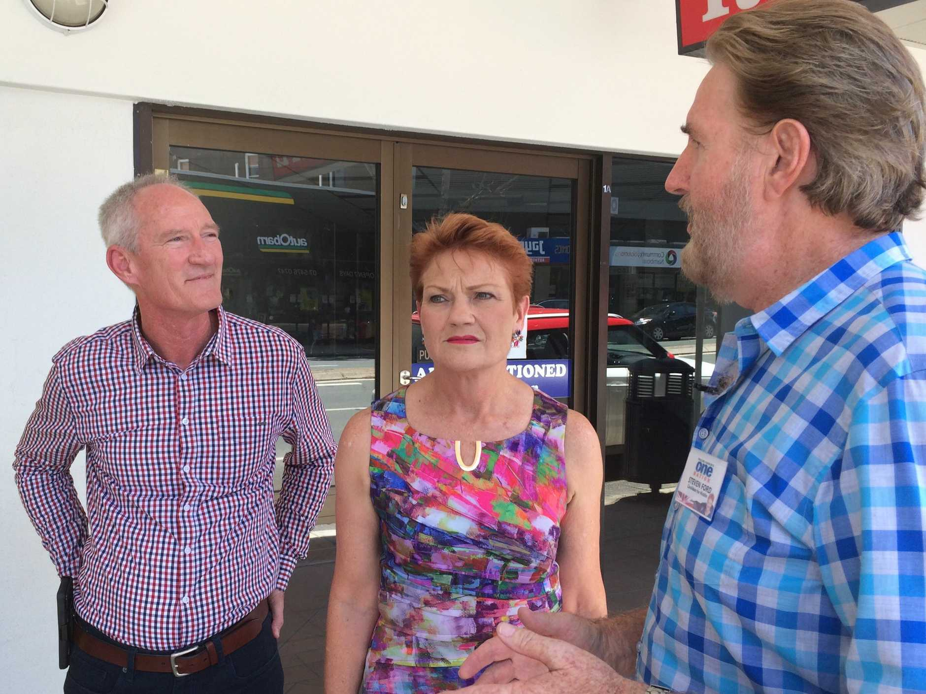 Buderim MP Steve Dickson, One Nation leader Pauline Hanson and One Nation Nicklin candidate Steven Ford.