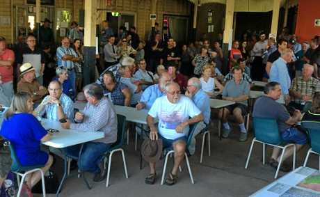 Some of the couple of hundred people who turned out to the rally opposing the expansion of the Shoalwater Bay Training area at the Lakes Creek Hotel in Rockhampton earlier this month.