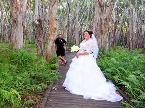 Amanda and Dwayne Armstrong at Black Beach Park on the Wedding Day.