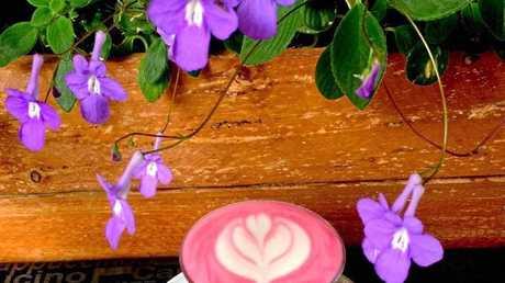Espresso Garden's beetroot and tumeric lattes.