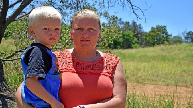 Angela Moore and her son John Williams, 4, were horrified after he was pricked with a needle at a Barney Point parkland.