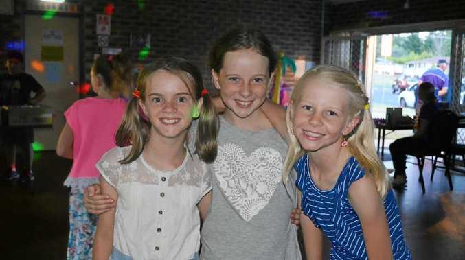 Brigid O'Dea, Claire Williamson and Maggie Gallaway at the Blue Light Disco.