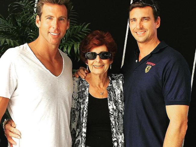 Grant Hackett with mum Margaret and brother Craig.