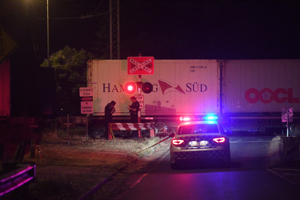 Police investigate the scene at Bundaberg North.