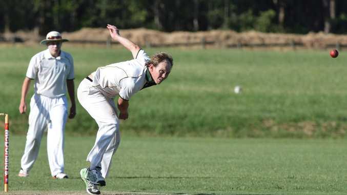 Nathan Secomb bowls for Dorrigo against Nana Glen. CHDCA cricket 18 February 2017 Coffs Coast Sport and Leisure park Photo: Brad Greenshields/Coffs Coast Advocate