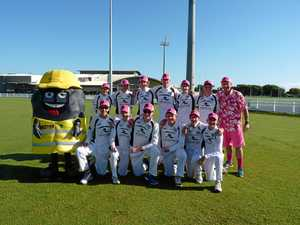 Junior cricketers wear pink for cancer battlers
