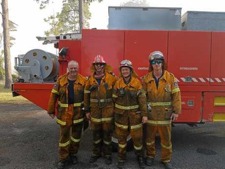TOP TEAM: Lennox Head RFS volunteer member Phil Bradley, Captain Bill McKenzie, volunteer Julia Slingsby and volunteer Doug Langdon at the Lennox Head fire.