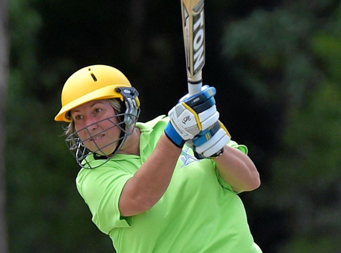 GOOD SHOT: Tanya Kretschmer hits long during the Sunshine Coast Women's T20 grand final.