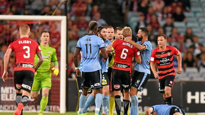 Tensions boil over between the Wanderers and Sydney in Saturday night's derby.