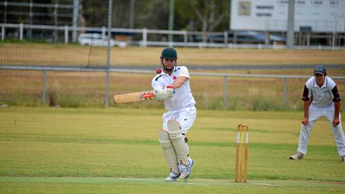 TOP SCORER: Allora batsman Nick Morris skies one towards square leg to be caught by Jonno Colfs off the bowling of Paul Cantwell in the game against Wheatvale.