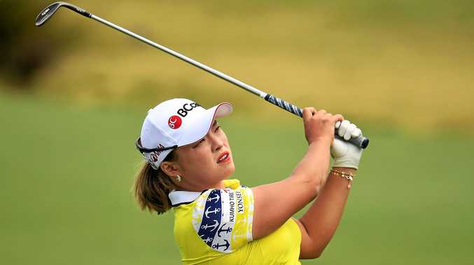 Ha Na Jang of South Korea plays a shot during round four of the Australian Open at Royal Adelaide.