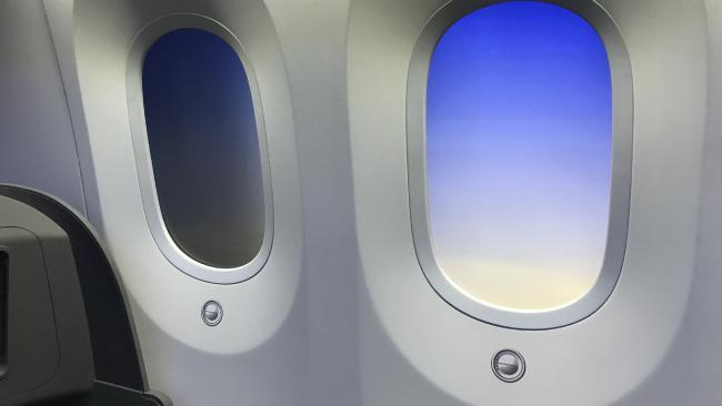 The shutterless windows in the Boeing 787.