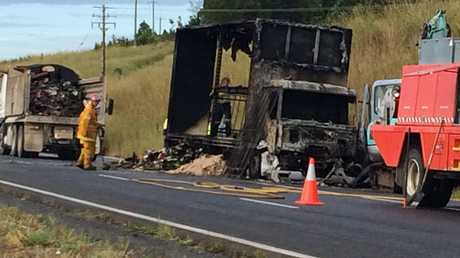 Burnt out truck on Pacific Highway