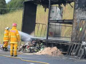 Lane remains closed as cleanup from truck inferno continues