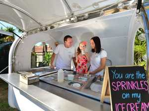 Sam and Dannii Catchpole with their daughter Bella in their mobile icecream van.