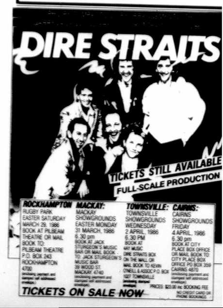 Coverage of the Dire Straits show in Mackay.