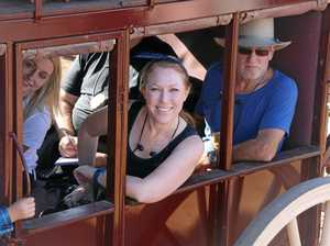 SETTING OUT: Passengers rode inside the coach while the well-heeled rode up top in the open air.