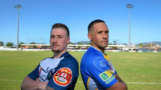 GAME ON: Rockhampton Brothers player Cohen Wassell (left) and Yeppoon Seagulls player Jonathan Tavinor are counting down to the Schwarz Excavation Nines, which will be played at Browne Park this weekend.