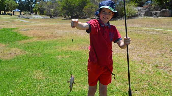 GREAT CATCH: Jack Bell with the catfish he caught at the Learn to Fish Day on Saturday .