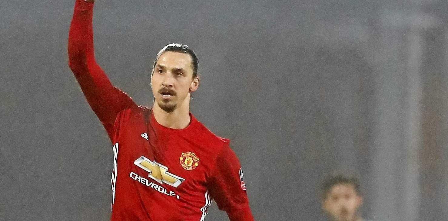 Manchester United's Zlatan Ibrahimovic celebrates scoring his side's second goal against Blackburn Rovers.