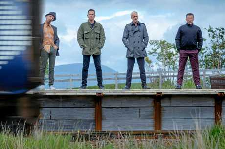Ewen Bremner, Ewan McGregor, Jonny Lee Miller and Robert Carlyle in a scene from the movie T2: Trainspotting.