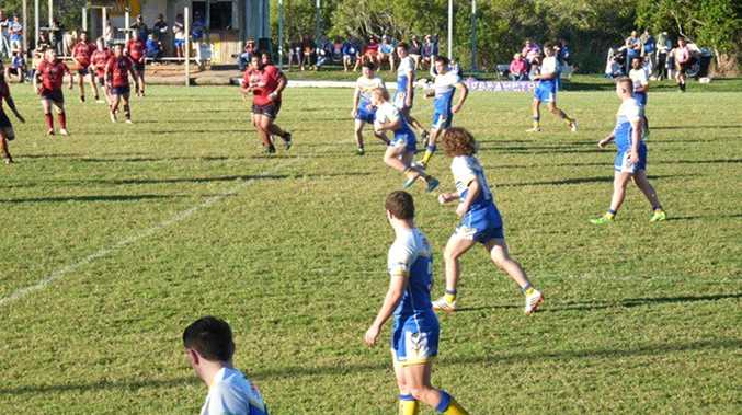 Seagulls player Jack Collins takes on the Gladstone Valleys defence on Sunday. Photo Contributed / The Capricorn Coast Mirror