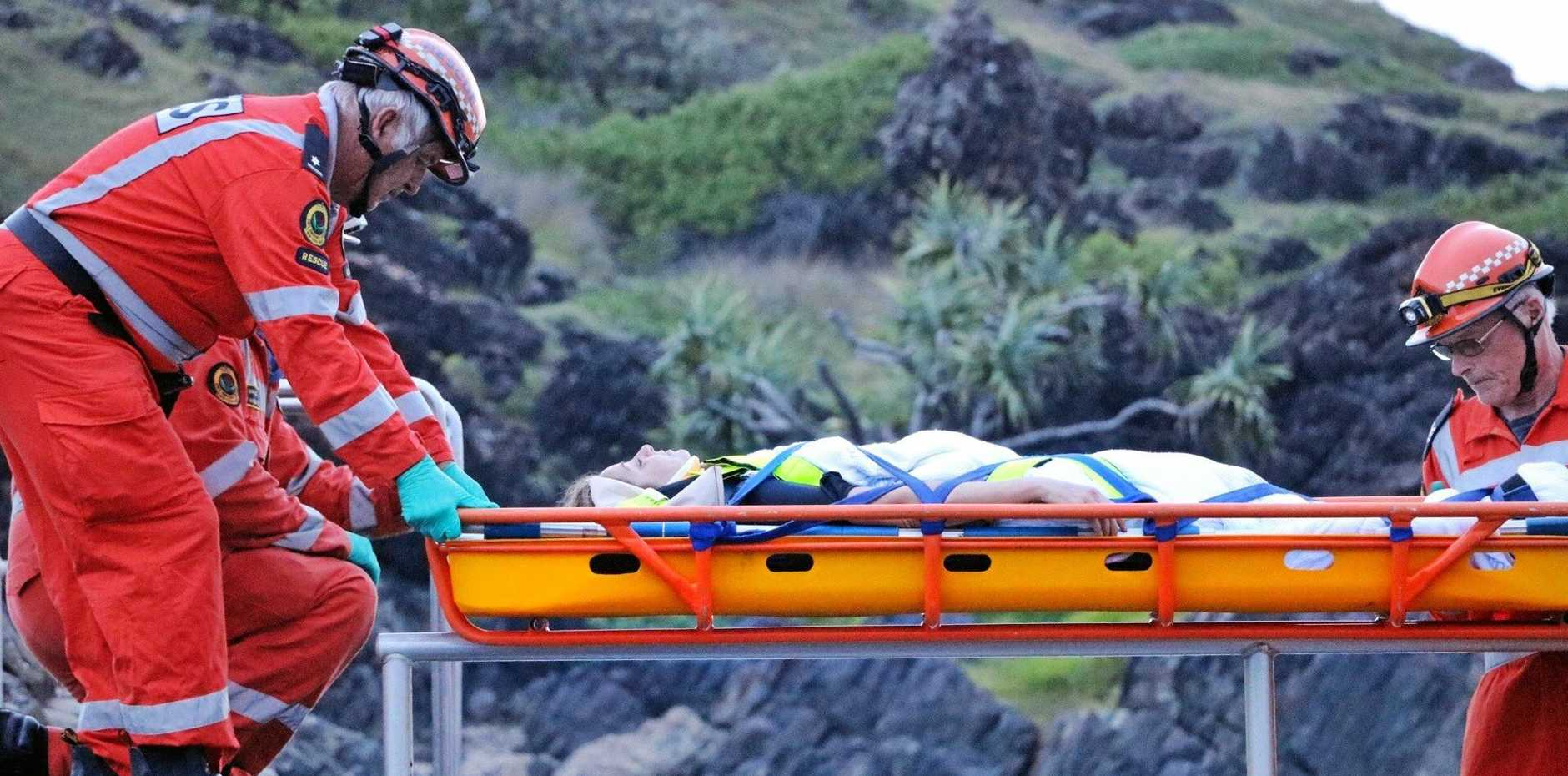 A woman was rescued from near the Sawtell rock pool on Saturday, February 18, 2017.