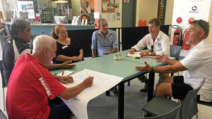 One of the round table discussions held by one of the groups led by scribe Col Hennessy during the NSW Grassroots Rugby League Summit staged at the Yamba Sports Complex on Saturday, 18th February, 2017.