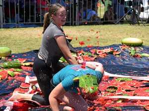 DOWN AND STICKY: The Melon Bungy event became a melon food fight at times.