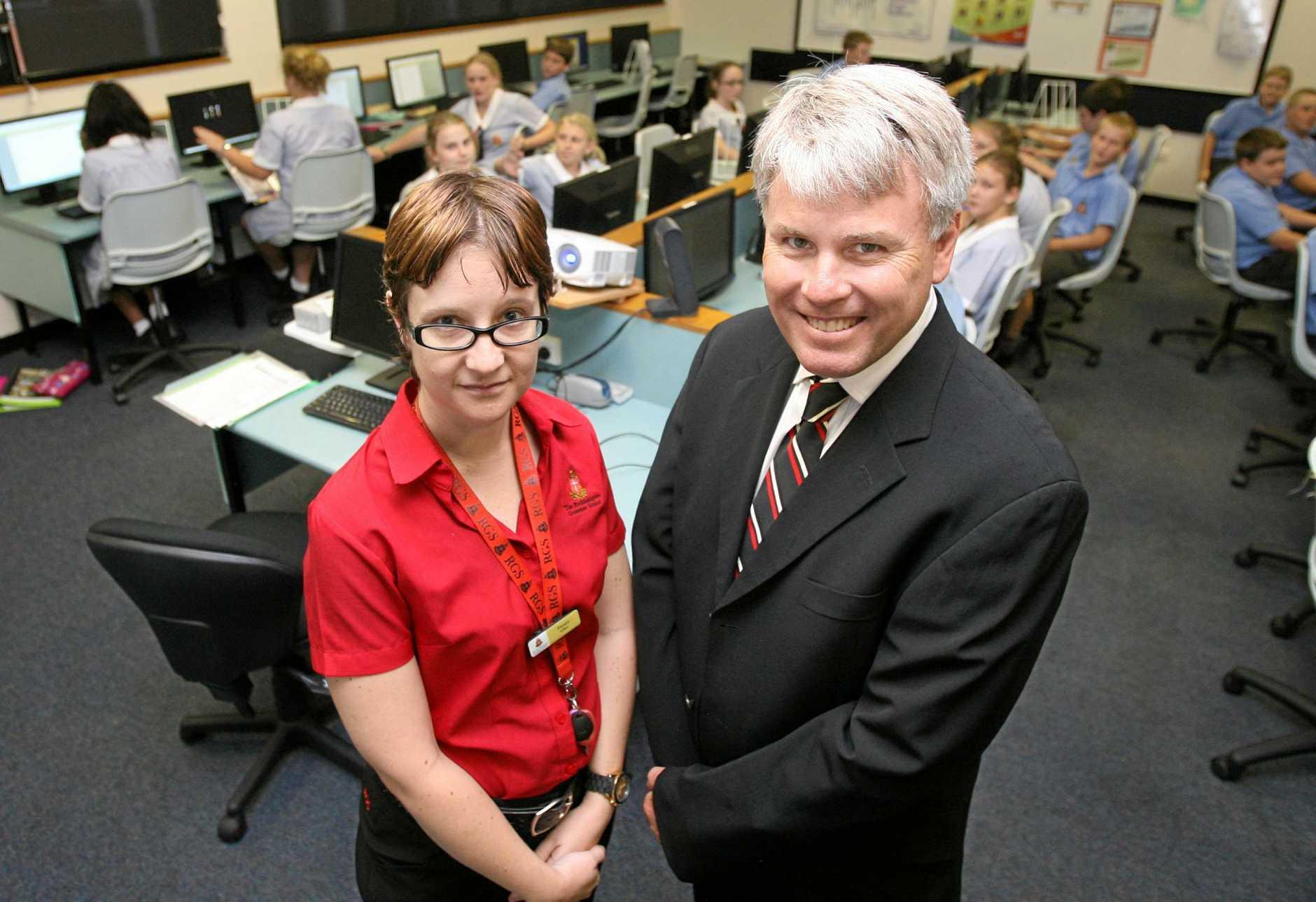 Rockhampton Grammar School teacher Tamara Giles with principal Dr Phillip Moulds.    Photo: Chris Ison / The Morning Bulletin