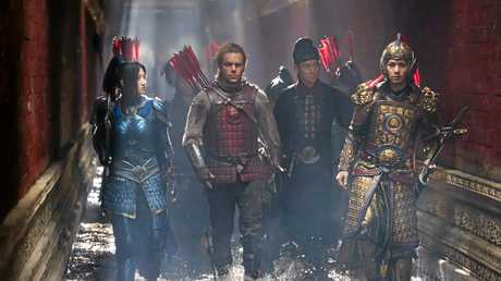 Tian Jing, Matt Damon, Andy Lau and Cheney Chen in a scene from the movie The Great Wall.