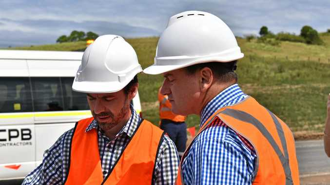 TAKING SHAPE: Main Roads district director Stephen Mallows briefs Wide Bay MP Llew O'Brien.