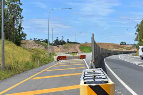 TAKING SHAPE: Main Roads district director Stephen Mallows briefs Wide Bay MP Llew O'Brien.