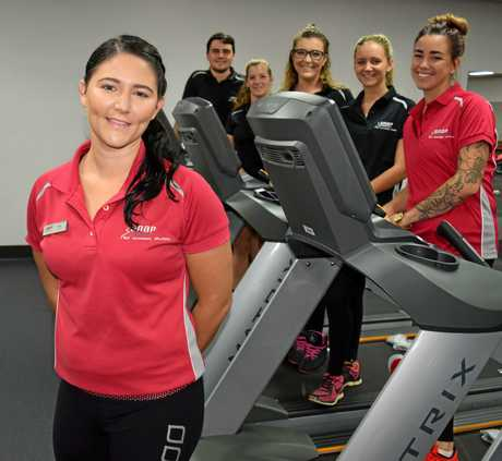 Yeppoon Snap Fitness business partner and manager Lucy Blanchard, childcarer Lace Ganter and trainers Tegan Parker, Sarah Antcliff, Grace Rayner and Jordan Lobegeiger