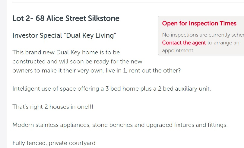 FOR SALE: An ad for a dual-living property at Silkstone.