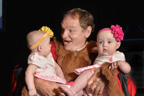 Welcoming Babies Ceremony at the Ipswich Civic Centre 2016. Mayor Paul Pisasale with twins Grace and Lilly Pedley, 6 months. Photo Inga Williams / The Queensland Times