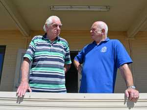 SUPPORT: Laidley RSL Sub Branch president Tom Barton (right) and vice-president Jim Nicholls chat in front of their new premises which is under construction.