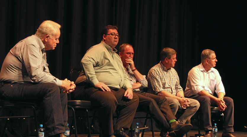 Dawson MP George Christensen, deputy prime minister Barnaby Joyce, opposition leader Tim Nicholls and Burdekin MP Dale Last on the panel at a meeting to discuss the Wilmar/QSL sugar impasse in Ayr on Sunday.