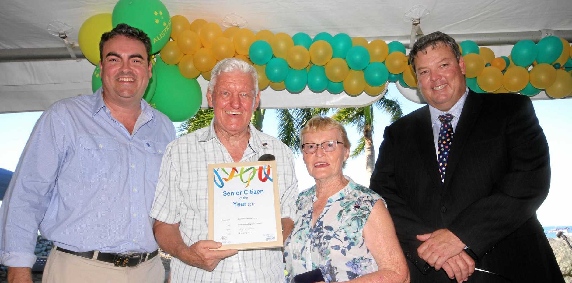 MP Jason Costigan with senior citizens of the year Colin and Patricia Mengel and mayor Andrew Willcox.