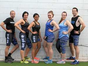 #NEVERGIVEUP: (L-R) Luke Rose, Jodie Sanders, Larin Bligh, Rachel Morrisson, Amy O'Rourke and Brett Brooks wearing tights designed by Cindy McCulloch of Ark Sportswear for Motor Neuron Disease.
