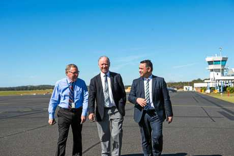Coffs Harbour Airport Manager Dennis Martin, Member for Coffs Harbour Andrew Fraser and Deputy Premier John Barilaro announced the multi-million airport of the Coffs Harbour Regional Airport.
