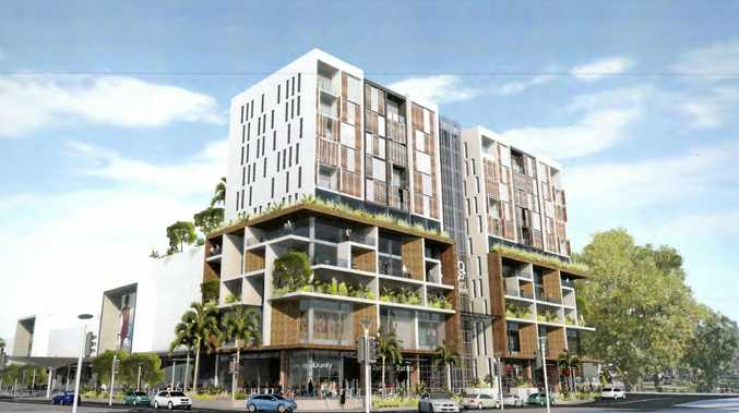 An artist's impression of the high-rise hotel development proposed to be built on top of Coffs Central by  Gowings Pty Ltd.