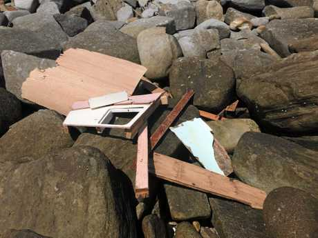 FLOTSAM: Debris from a boat which crashed onto Lover's Point in Yamba last week.