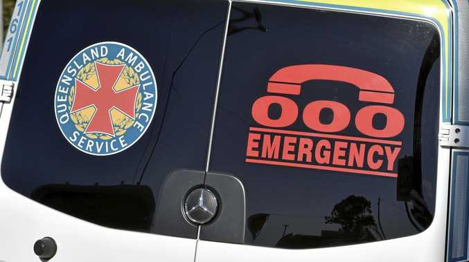 A man was rushed to hospital after a truck crash on Marian Hampden Rd on Monday.