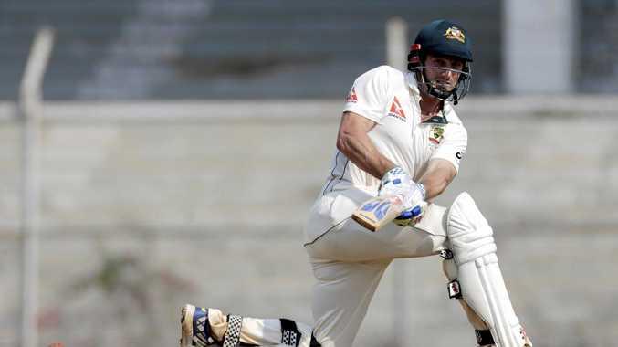 Australia's Shaun Marsh bats during a practice match against India XI in Mumbai